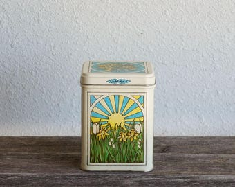 Sunrise Daylily Flowers Pattern Tin, Vintage Metal Tin, Floral Tin Can Container