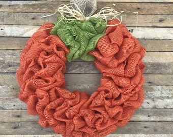 Burlap Pumpkin Wreath, Fall Wreath, Autumn Wreath, Halloween Wreath, Front Door Wreath, Orange, Handmade, Fall Decor