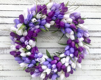 Spring Wreath, Tulip Wreath, Spring Wreath For Front Door, Purple, Easter Wreath, Mother's Day, Lavender