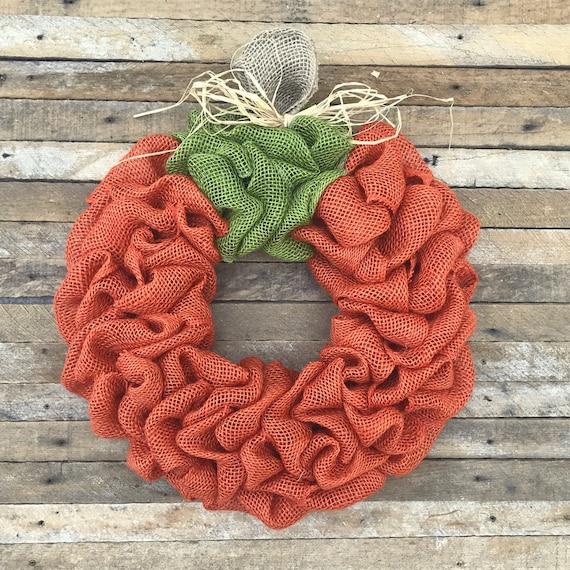 Burlap Pumpkin Wreath, Fall Wreath, Autumn Wreath, Halloween Wreath, Front Door Wreath, Orange, Handmade, Fall Decor