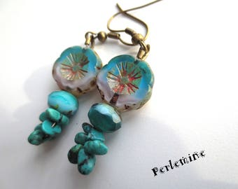 I want the blue! Earrings glass beads and stone (turquoise).