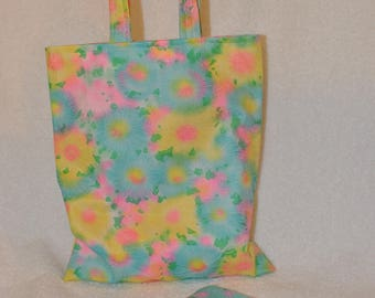 Childrens Multi colour pastel fabric tote bag and matching coin purse.