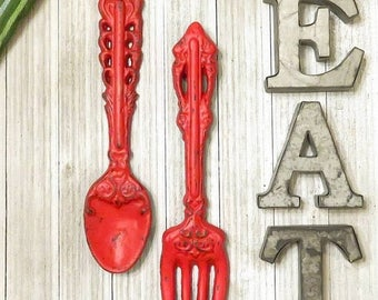 Kitchen Wall Decor -  Home Decor - Kitchen Decor -  Rustic Kitchen Decor - Kitchen Signs - Kitchen Sign Decor - Fork and Spoon Wall Decor