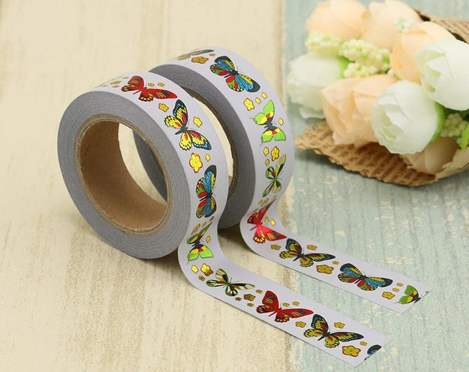 Foil Butterfly Washi Tape - Foiled  Washi Tape -  washi Tape - Paper Tape - Planner Washi Tape - Washi - Decorative Tape - foiled washi