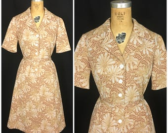 1950s style Plus Size Brown Floral Shirt Waist Dress  70s does 50s Day Dress with Matching Belt  1970s Volup Flower button up dress