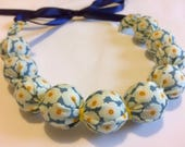 Flower Fabric necklace - Tilda fabric - blue - yellow - floral - jewellery - beautiful - Handmade