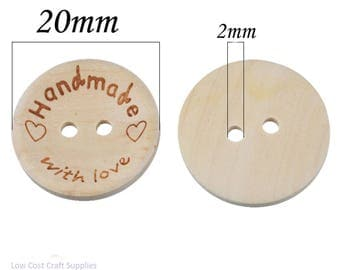 Wooden Buttons, Handmade Buttons, Handmade With Love Buttons, Handmade Tags, Handmade With Love, 20mm Buttons, Plain Round Buttons,