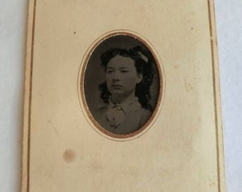 Tintype Photo Victorian Pretty Woman Paper Frame