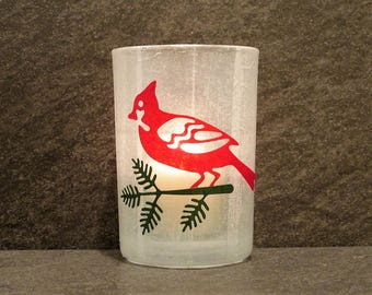 Cardinal Large Votive Candle Holder with Candle