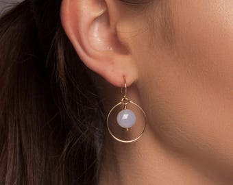 Blue Chalcedony Earrings Gold or Silver, Blue Chalcedony Halo Earrings, Circle Earrings, Circle Drop Earrings, Blue Drop Earrings