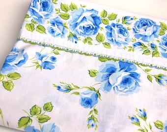 Vintage Twin Bedsheet Blue Rose Floral Eyelet Lace Trim Wabassso 100% Cotton Retro Boho Hippie Bedding