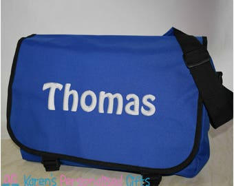 Personalised School/Messenger/Shoulder Blue Bag, Embroidered with Name