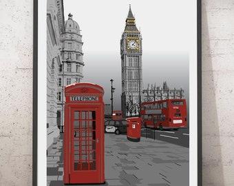London art print, London poster, London illustration, London drawing. London wall art, British art,
