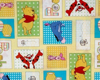 """Winnie the Pooh Be Cuddly Patchwork fabric, By the Half Yard, 45"""" wide, 100% cotton"""