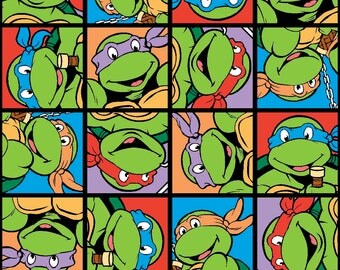 """TMNT Turtle Power Face Patch fabric for Springs Creative, 43"""" wide, 100% cotton"""