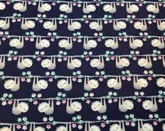 "Happy Sloth fabric - By the Half Yard - 44"" wide - 100% cotton - novelty fabric - quilting cotton - juvenile fabric - animal fabric"