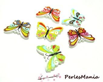 10 boutons en bois  multicolores Papillons ref H1130