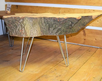 Reclaimed Wooden Tree Trunk Coffee Table on Hairpin Legs