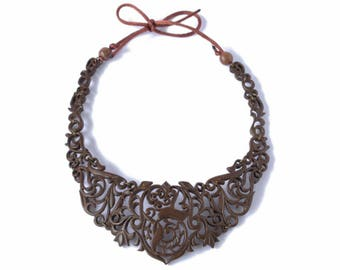 Coconut Shell Necklace,Women's Necklace ,Wooden Necklace,  Beautiful Handmade Jewelry