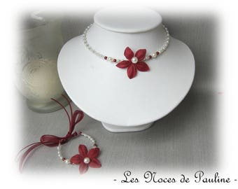Necklace Burgundy and ivory silk flower pearls Zoe collection child, bridesmaid