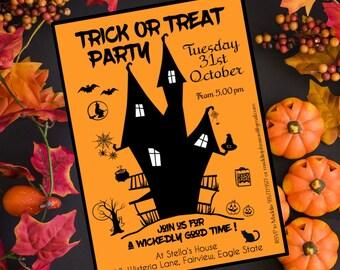 Kids Halloween Invitation, Kids Halloween invitation printable, Halloween party invite, Custom Halloween invitation, Halloween trick treat
