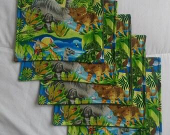 Cloth napkins dinosaur print school lunch Kid-friendly zero waste