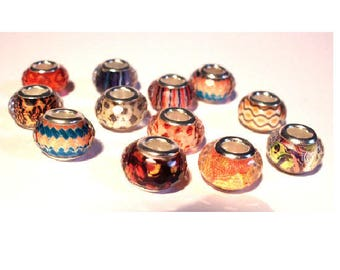Set of 12 European faceted assortment of colors and patterns