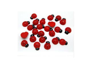 Set of 10 ladybugs wood stick 15 mm x 12 mm