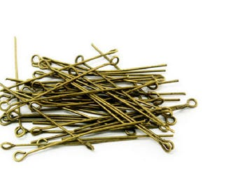 set of 20 PCs round head pin 45 mm metal color bronze