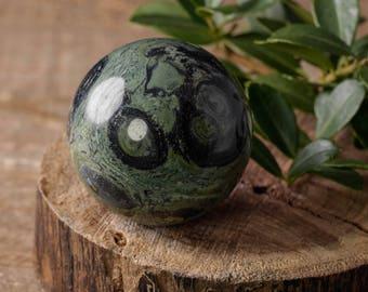 Medium KAMBABA JASPER Sphere with Stand - Natural Jasper Stone, Kambaba Sphere, Healing Stone Sphere, Healing Crystal Sphere E0618