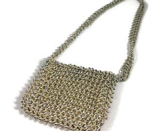 Vintage Chainmaille Shoulder Bag Silver and Gold Metal Link Handbag Vintage Purses Vtg Chainmail Purse Chainmaille Purses Chainmaille  Bags