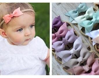 Pick any Bow Nylon headband, newborn baby infant headband, baby headband, newborn photo prop, toddler headband, knotted bow headband