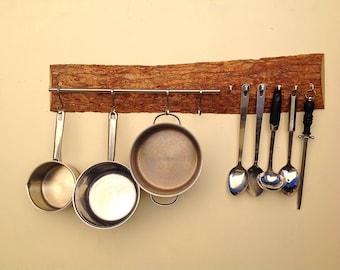 Solid Oak Kitchen Pot U0026 Utensil Rack. Wall Rack With Hanging Rail For  Saucepans Etc