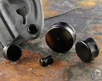 """DF Black onyx plugs 2g (6mm), 0g (8mm), 00g (9.5mm), 7/16"""" (11mm), 12mm, 9/16"""" (14mm), 5/8"""" (16mm), 3/4"""" (19mm), 7/8"""" (22mm), 1"""" (25mm)"""