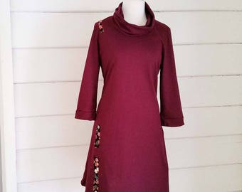 Women's Australian Made Jersey Jersey Cotton Cowl Neck Dress Japanese Cotton Applique Maroon Jersey Dress Jersey Cotton Dress Made to Order
