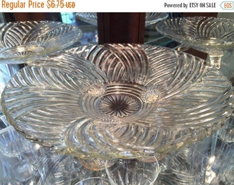 25% OFF SALE! Vintage 1940's Anchor Hocking  979 Prismatic Swirl Clear Footed Bowl Serving Bowl Decor Dining Piece Housewarming Gift