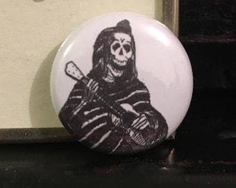 """Skeleton Playing Guitar 1"""" button"""