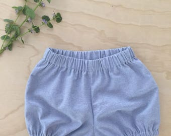 Ready to ship - Bloomers/diaper pale blue linen imitation jeans style
