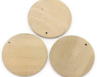 10 pendants round light wooden 3cm