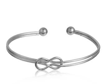 """Love knot"" Bangle semi-open in silvered copper"