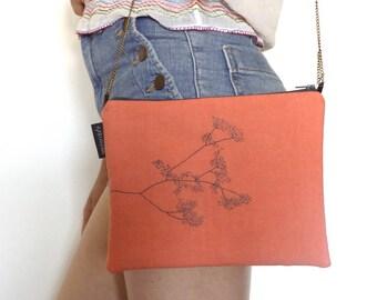 Coral bag with chain, bag coral embroidered, embroidered bag, wedding, Mini bag, lightweight bag, bag ceremony, handbag, made of