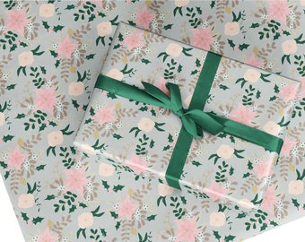 Christmas wrapping paper, gift wrap, Christmas flower gift wrap, Christmas wrapping paper sheet