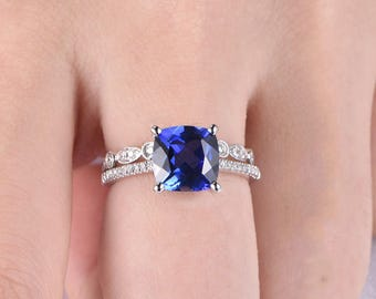 Sunset Ring Set Unique Wedding Ring Set Sapphire Ring Set