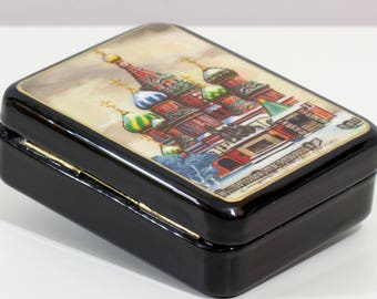 """Russian Fedoskino Lacquer Box - SMALL SIZE - """"St.Basil Cathedral. Red Square, Moscow."""" - Hand Painted in Russia - Collectible Art Quality"""