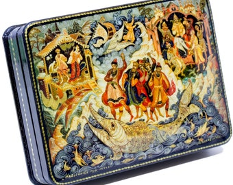 "Russian Lacquer Box - ""Satko""(Fairy Tale) - Medium Size - Hand Painted in Russia"