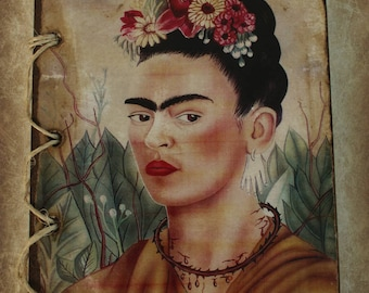 Frida Kahlo Self Portrait, Dedicated to Dr Eloesser, 1940. Eco Friendly Notebook Handmade from Recycled Materials, 75 recycled paper sheets