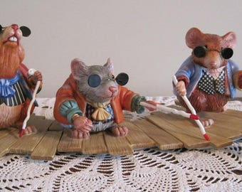 Three Blind Mice, Porcelain Figurine, James Christensen Figurine, Whimsical Porcelain, Whimsical Figurine