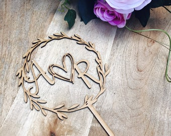 Monogram Wreath Cake Topper Boho wedding cake topper wreath cake topper Topper wreath cake initial Cake Topper wedding toppers with heart