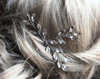 Bridal Hair pins, Bridal Hair Accessories, Ivory White Pearls Rhinestone Bridal Headpieces, Wedding hair clip
