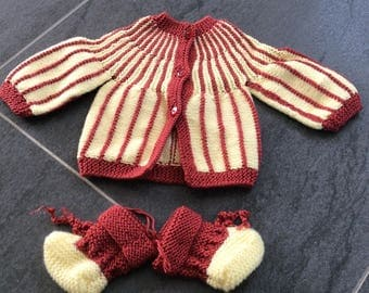 Baby set jacket and booties mixteneuf boy girl